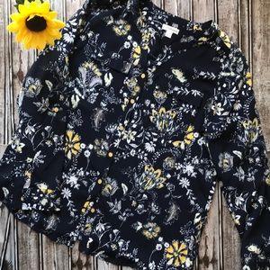 Croft & Barrow navy floral blouse